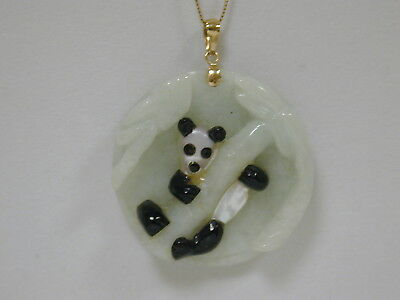 14k Gold Carved Jade, Mother of Pearl, & Black Nephrite Jade Panda Pendant