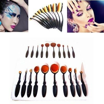 10PC Professional Makeup Brushes Set Kit Oval Cream Brush Kabuki Toothbrush Tool