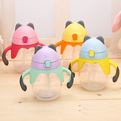 250ml Infant Baby Kid Sippy Suction Cup Drinking Milk Water Straw Feeding Bottle