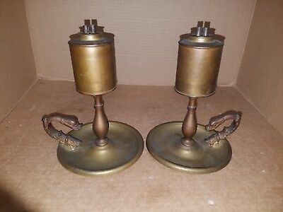 Vintage Pair of Brass Whale Oil Lamps