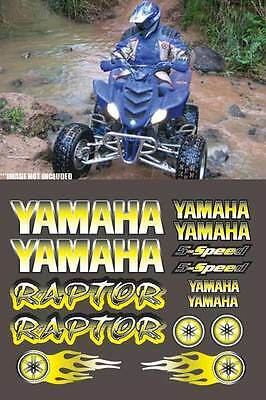 Raptor yamaha YELLOW Airbrush Style 16pc atv Quad Decals Stickers 660R,350