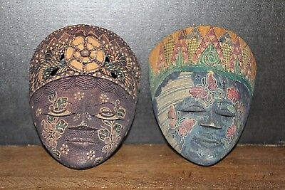 "2 Vtg Hand Crafted & Painted Wood ""Face Masks"" Spirt/Demon Chasers Folk Art"