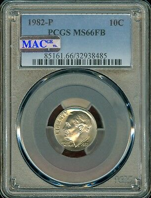 1982-P Roosevelt Dime Grade MS66FB by PCGS MAC .. ..