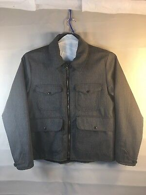 Filson Men's Gray 100% Whipcord Wool Bell Bomber Jacket. Made in USA. Size L EUC