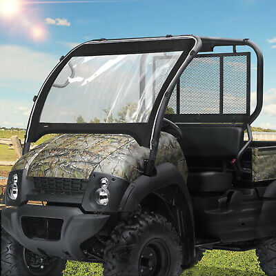 Quadgear Full Front Windshield Vinyl Wind Shield Kawasaki Mule Pro FX DX 15-19