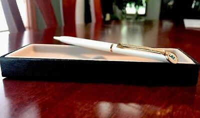 Vintage Quill PEARL WHITE Ballpoint Ink Pen w/ OMG Logo
