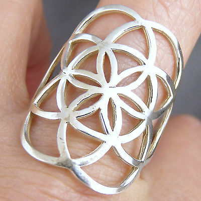 SEED OF LIFE Size US 7.5 (P) SilverSari Jali Art Ring Solid 925 Sterling Silver
