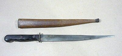 """Vintage US ARMY ACCRA trench art hamd made fightin knife w/ wood scabbard. 13.5"""""""