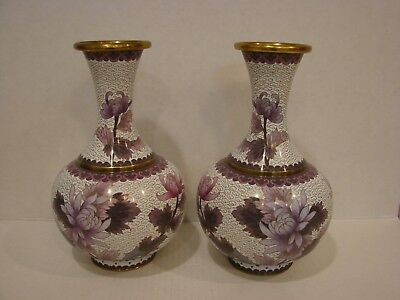 """Pair of Cloisonné Large 9 1/4""""  Tall  Floral Vases"""