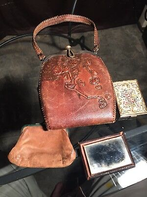 Vintage Antique Art Deco Stamped Leather Purse Turnloc Clutch, Compact, Mirror !