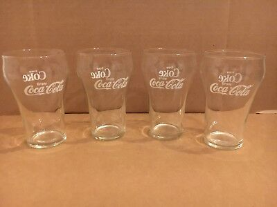 Vintage Coca-Cola Glasses set of 4 Coke Enjoy small bell used glass lot