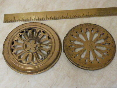 2 Antique Pierced Brass Back Doors 1 French--1 American (Pa)