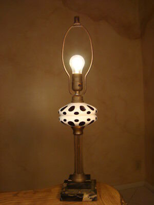 Great Antique White Cranberry Overlay Cut Glass Sandwich Lamp