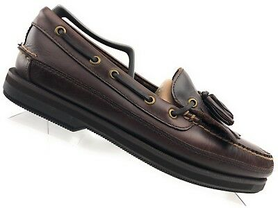 3a61cbc8c14 Bass Henry Brown Leather Tassel Moc Toe Boat Shoes Loafers Mens Size 10 M .