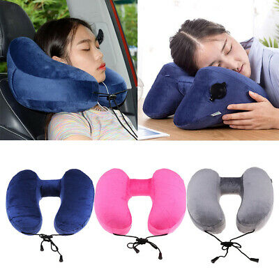 Inflatable Travel Pillow Cushion Neck Rest Compact For Airplane, Car, Train, Bus
