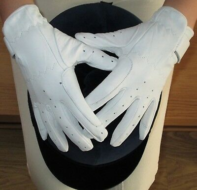 (White, Large) - Ladies Dressage Gloves Horse Riding White or Cream Hands On