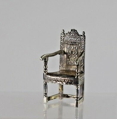 Rare Antique English Sterling Silver Doll House Arm Chair Fully Hallmarked