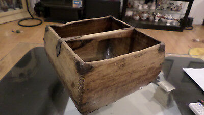 Antique Asian Chinese Rice Harvest Bucket Basket w/Handle 13.5 x 13.5 x 9.5""