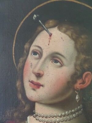 Large Antique 18th Century Oil on Canvas Painting Saint Church Gothic skull