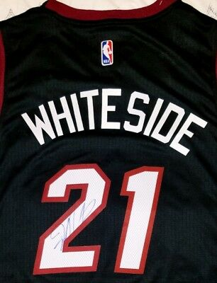 4c35476c5b1 Hassan Whiteside Signed Miami Heat Jersey Size XL In Person W coa