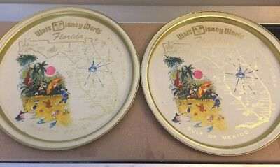 Walt Disney World Florida Vintage 1970s Round Metal Trays Mickey Mouse PAIR
