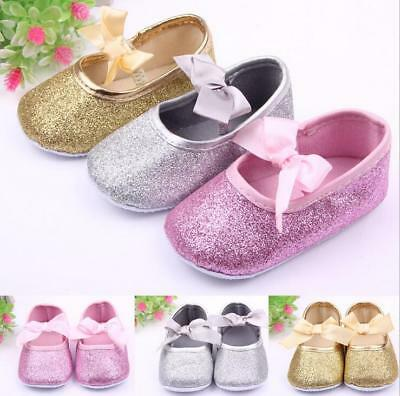 Hot Bow Kids Child Baby Girl's Bright Powder Princess Toddler Shoes 0-1Y