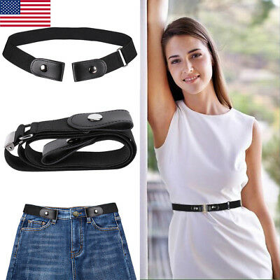 US Buckle-free Elastic Women Comfortable Invisible Belt for Jeans No Bulge