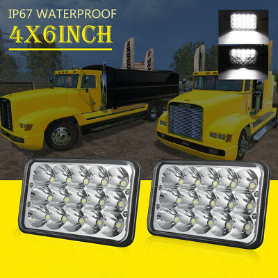 Pair 4x6'' LED Headlights Sealed Beam H4 Bulb For kenworth T800 T400 T600 W900B