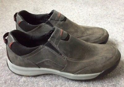 Mens Clarks Grey Leather Slip On Casual Trainer Style Shoes Size Uk 9 (43