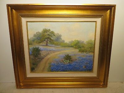 "16x20 org. 1950 oil painting by Padro Lazcano of ""Texas Bluebonnet Hill Country"""