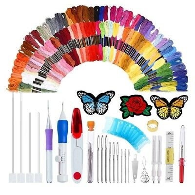 Magic Patterns Punch Needle Kit Craft Tool Embroidery Pen Set,Threads for Sew O2
