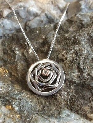 NEW Welsh Clogau Silver & Rose Gold Royal Rose White Topaz Pendant £60 off!