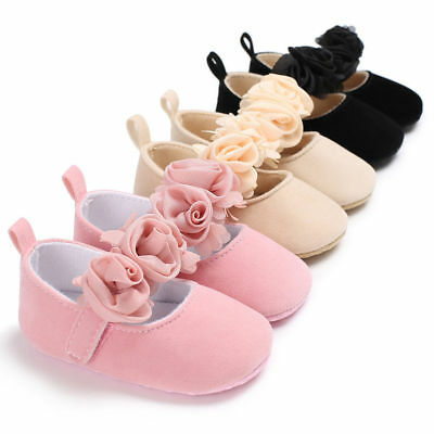 Newborn Baby Girl Flowers Soft Crib Shoes Prewalker Anti-slip Sneakers UK STOCK