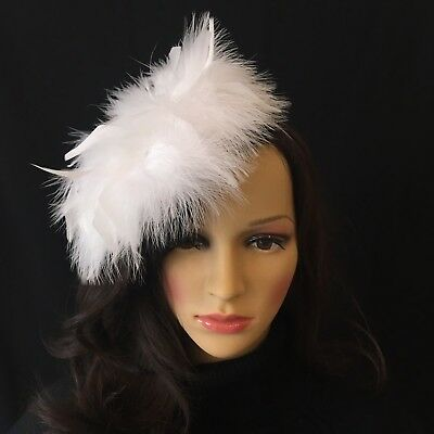 white feathers Fascinator Big Brooch Headband. Ideally For Wedding/Christianing