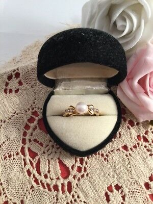 Vintage Jewellery White Pearl and Sapphires Gold Ring 1950s Dress Jewelry size P