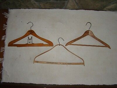 3 Vintage Wooden Clothes Hangers Advertising