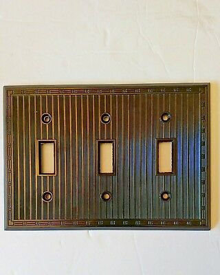 NEW Bryant art deco BROWN Switch Plate Cover  3 Gang Ribbed Bakelite Striped
