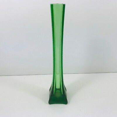"Beautiful Flower Vase  Art Deco Inspired Design Green 10.5"" Inches Tall"
