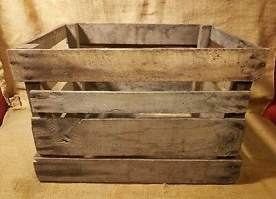 Vintage Old Wooden Antique Apple Orchard Fruit Crate Amish Farm Barn Find