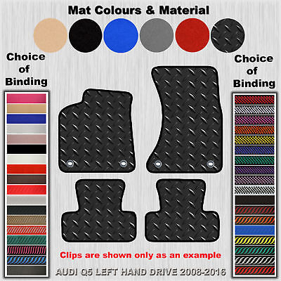 Tailored 3Mm Rubber Floor Mats For Audi Q5 Left Hand Drive 2008-2016 (4-Clips)