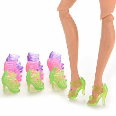 10 Pairs Translucent Clear Shoes Heels Sandals for Barbie Doll Fashion Dress Toy