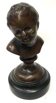Lovely Antique Bronze Bust Of A Cherub Child Boy On A Marble Base