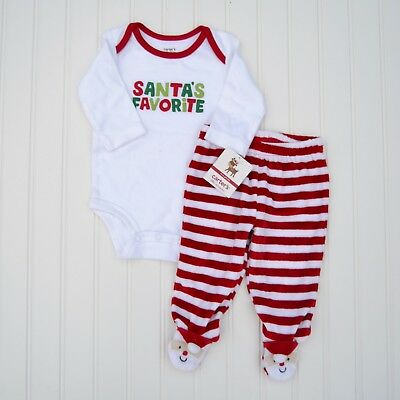 NEW Carter's 2 Piece First Christmas Outfit Set Bodysuit Pants Santa's Favorite