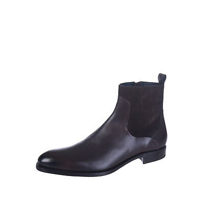 ERMENEGILDO ZEGNA Leather Ankle Boots Size 45 UK 11 Made in Italy RRP €860