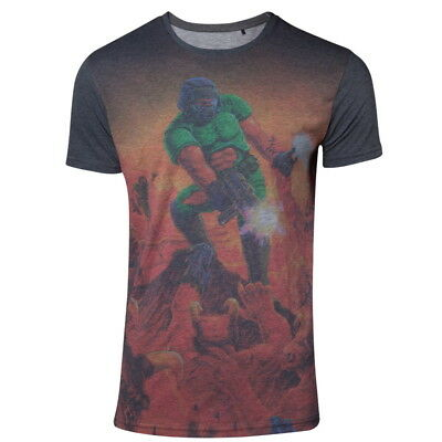 OFFICIAL DOOM Classic Box Art All-Over Sublimated Print Mens T-Shirt Top (NEW)
