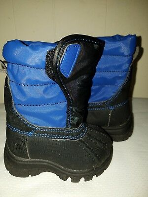 The Children's Place Boys Insulated Snow Boots Black & Blue Baby Toddler Sz: 4