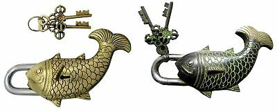 Big Fish Shape Lock Vintage Antique Style Handmade Brass Door Padlock & Keys