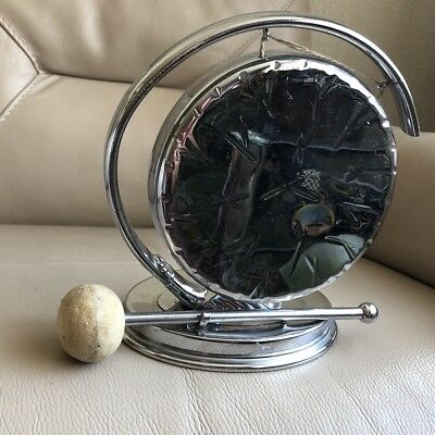 1930s Dinner Gong Strike Chrome Plated 1920s Art Deco Geometric Antique Vintage