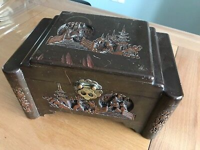 Miniture Camphor Wood Oriental Design Chest
