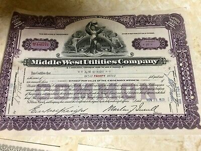 vintage MIDDLE WEST UTILITIES COMPANY STOCKS